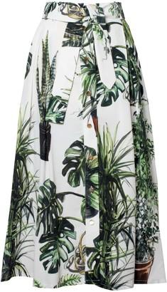 Tomcsanyi Plants Print Midi Skirt