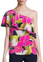 Trina Turk Kahe One-Shoulder Floral Print Top