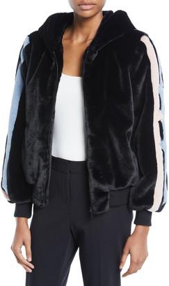 Baldan Amanda Christy Star-Intarsia Faux-Fur Bomber Jacket