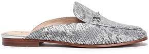 Sam Edelman Snake-print Metallic Leather Slippers