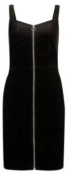 Dorothy Perkins Womens Black Cord Zip Pinafore Dress, Black