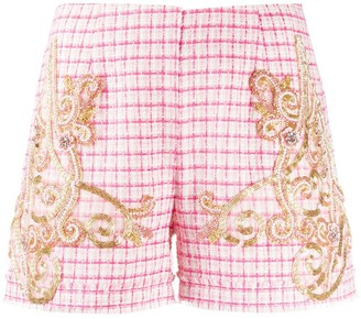 Loulou Bead-Embellished Check Shorts