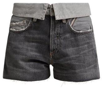 Atelier Jean Flip Fold-over Denim Shorts - Womens - Grey