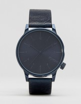 Komono Winston Regal Leather Watch In Blue