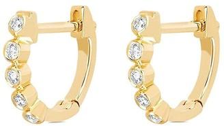 Ef Collection 14kt Yellow Gold Mini Diamond Bezel Huggies