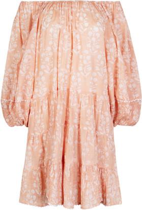 Juliet Dunn Pleated Floral-Print Cotton Off-The-Shoulder Mini Dress