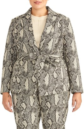 Rachel Roy Collection Snake Print Tie Waist Cotton Blend Jacket