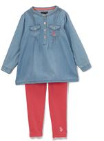 U.S. Polo Assn. Light Wash Pin Tuck Top & Leggings - Toddler & Girls