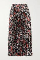 Saloni Kim Pleated Printed Satin-jacquard Midi Skirt