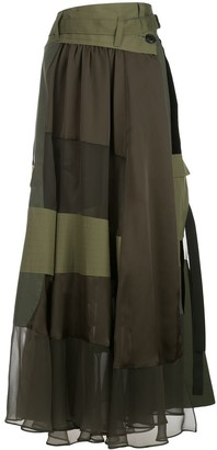 Sacai Contrast Panel High-Waisted Skirt
