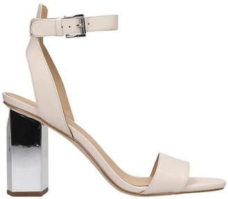 Michael Kors Petra Sandals In Beige Leather