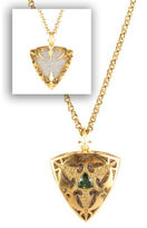 NEW KRISTEN FARRELL 18KT Gold Diamond Green Emerald Reverse Shield Necklace