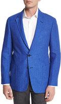 Armani Collezioni G-Line Two-Button Linen Sport Coat, Blue