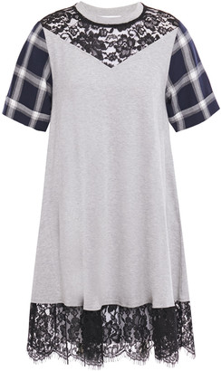 McQ Chantilly Lace-trimmed Checked Twill And Jersey Mini Dress
