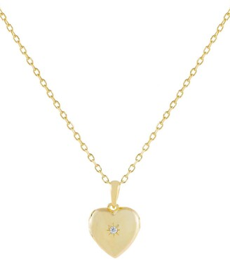Adina's Jewels Cubic Zirconia Heart Locket Pendant Necklace
