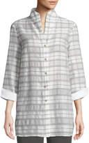 Misook 3/4-Sleeve Soft Plaid Shirt Jacket