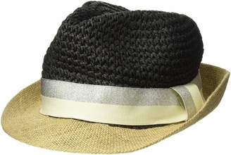 Steve Madden Women's Paper Crochet & Jute Short Brim Fedora with Two Tone Band