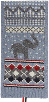 Thom Browne Blue Elephant Fair Isle Mohair Scarf