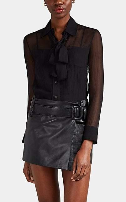 Prada Women's Plissé Silk Chiffon Blouse - Black