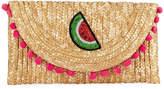 Cappelli Straworld Watermelon Straw Pompom Clutch Bag