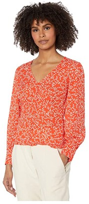 Cupcakes And Cashmere Portia 'Blooming Hearts' Smocked Waist Top (Red Hots) Women's Clothing