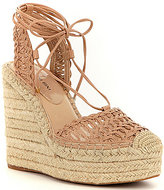 Gianni Bini Sailor Webbing Soft Mesh Lace-Up Espadrille Wedges