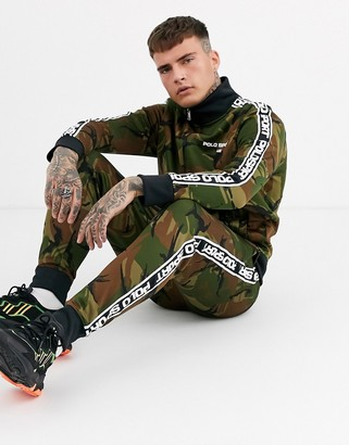 Polo Ralph Lauren Ralph Lauren Sport Capsule side logo taping athletic camo print tricot joggers in green