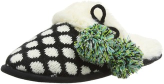 Dearfoams Womens Fairisle Closed Toe Scuff with Poms and Memory Foam Open Back Slippers