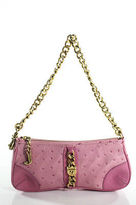 Juicy Couture Pink Leather Small Gold Tone Chain Strap Satchel Handbag