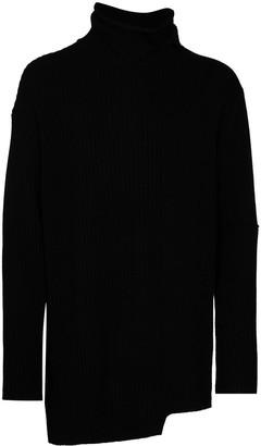 Yohji Yamamoto Asymmetric Ribbed-Knit Jumper