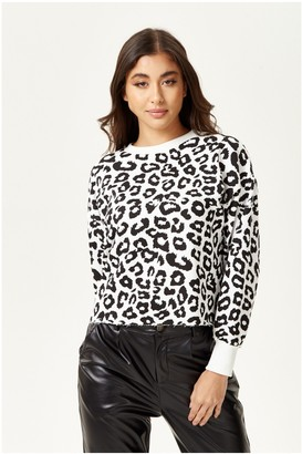 Liquorish Black and White Animal Print Sweatshirt