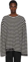 Juun.J Black and White Striped Embroidered T-Shirt