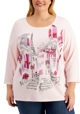 Karen Scott Plus Size Cityscape Printed Top, Created for Macy's