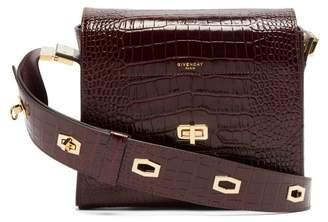 Givenchy Eden Medium Crocodile-effect Leather Bag - Womens - Burgundy