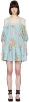 Alexander McQueen Blue Floral Off-the-Shoulder Dress