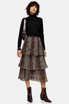 Topshop Womens Brown Leopard Print Tiered Pleated Skirt - Brown