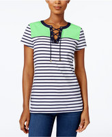 Charter Club Colorblocked Lace-Up Top, Created for Macy's