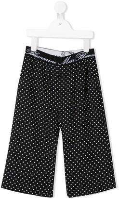 Miss Blumarine Cropped Polka Dot Print Trousers