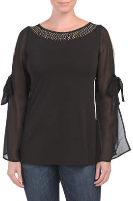 Tied Arm Chiffon Sleeve Date Night Top