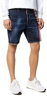 DSQUARED2 Regular Fit Striped Logo Denim Shorts