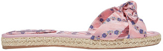 Tabitha Simmons Knotted Floral-jacquard Espadrille Slides