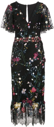 Marchesa Notte Embroidered Floral Tulle Midi Dress