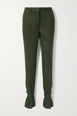 J.W.Anderson Bow-embellished Wool Straight-leg Pants - Dark green