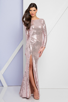 Terani Couture 1722E4205 Long Sleeve Sequined Gown