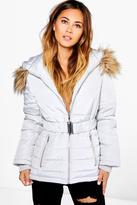 Boohoo Grace Belted Quilted Jacket With Faux Fur Hood