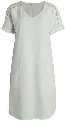 Pure Navy Short-Sleeve Trim Dress
