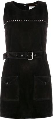 Saint Laurent Calf Leather Belted Studded Dress