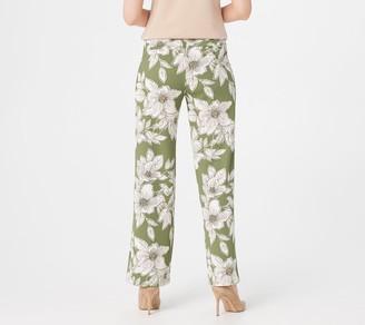 Isaac Mizrahi Live! Petite Floral Printed Pebble Knit Wide-Leg Pants
