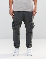 Asos Drop Crotch Linen Joggers With Cargo Pockets In Gray