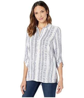 FDJ French Dressing Jeans Dotted Stripe Print Blouse with 3/4 Rushed Sleeves